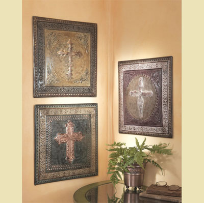 Embossed Cross Wall Plaques (set of 3)