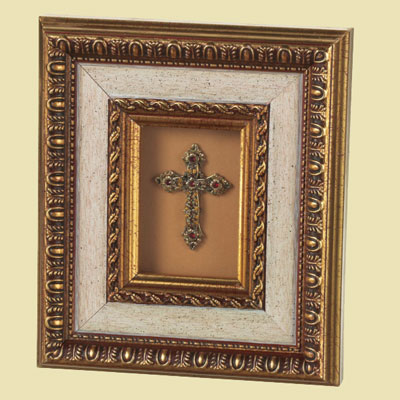 Crystal Trimmed Gold Cross Framed Shadowbox