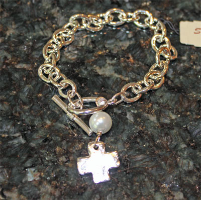 Handcast Silver Open Cross Bracelet with Pearl