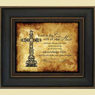 "Framed Jeweled Cross – Proverbs 3:5-6 – """"Trust in the Lord…"""""