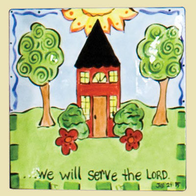 "We Will Serve the Lord 9″"" Square Plate"