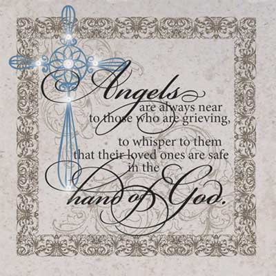 Scripture Stone w/Iron Easel - Angels are always near