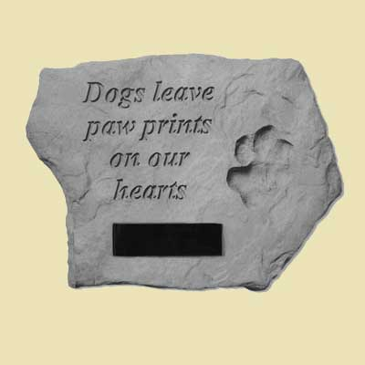 Dogs leave paw prints… Memorial Garden Stone