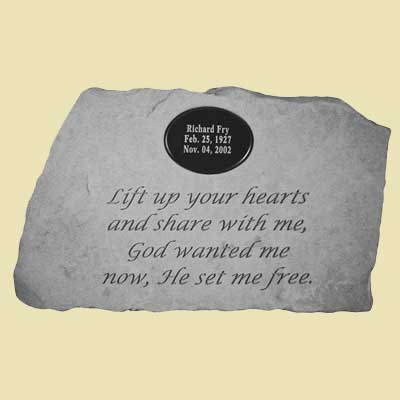 Lift up your hearts… Personalized Memorial Stone
