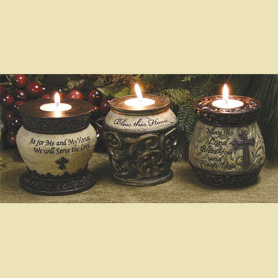 Tea Light Candle Holders with Scripture – Set of 3