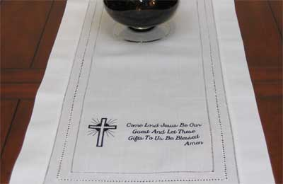 Cross & Dinner Blessing Table Runner – Black