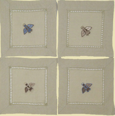 Angel Beverage Napkins (Blue & Cream) – Set of Four
