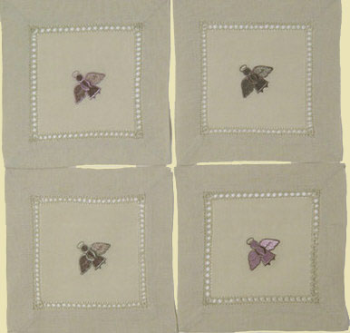Angel Beverage Napkins (Pink & Sage) - Set of Four