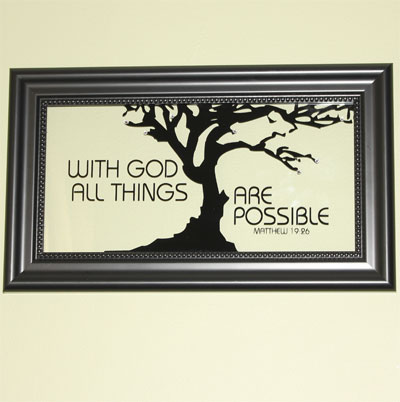 Tree / With God All Things… Framed Glass Decor