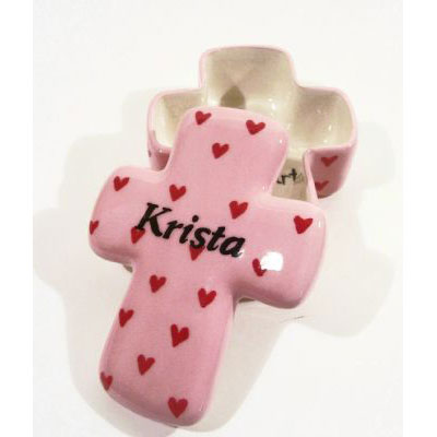 Personalized Ceramic Cross Box – Pink with Red Hearts