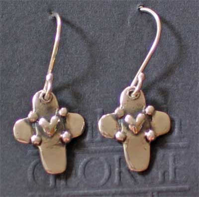 Sterling Silver Cross with Heart Earrings on Silver Shepherds Hook