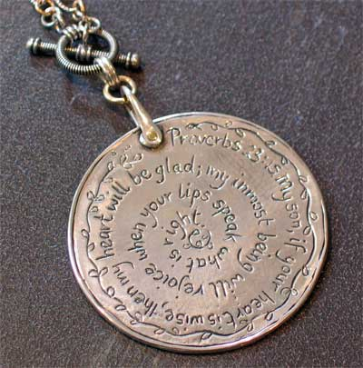 Sterling Silver Scripture Medallion Necklace - Psalm 19:14 & Proverbs 23:15