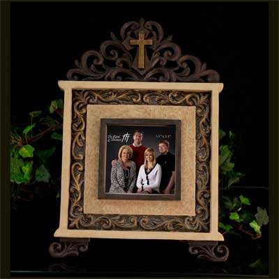 Iron Photo Frame with Cross