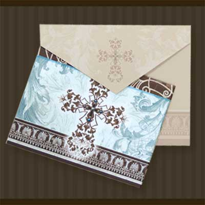 Blue and Brown Cross Notecards with Envelopes