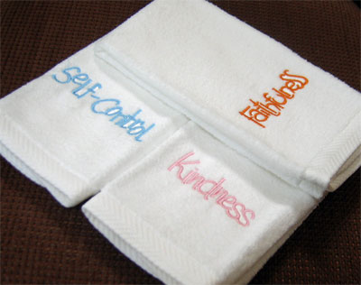 'Faithfulness', 'Kindness', 'Self-Control'  Velour Finger Towels – Set of Three
