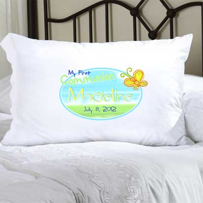 Personalized First Communion Pillow Case with Butterfly