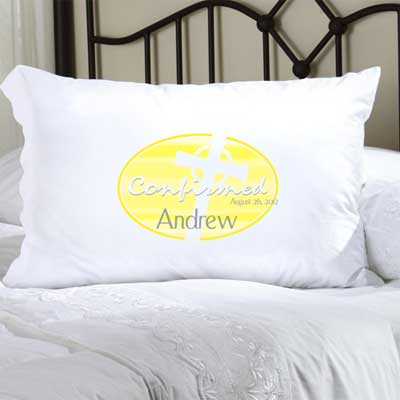 Personalized Confirmation Pillow Case with Celtic Cross (Yellow)