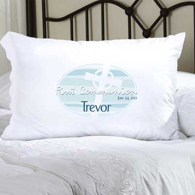 Personalized First Communion  Pillow Case with Celtic Cross (Blue)