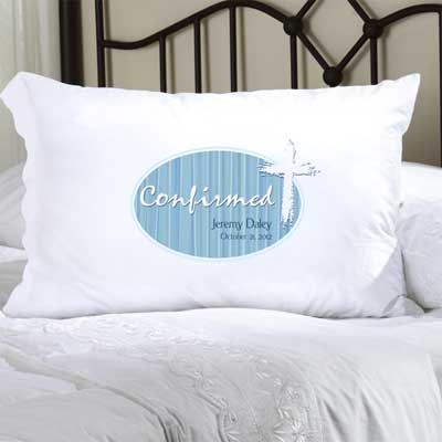 Personalized Confirmation Pillow Case with Cross (Blue)