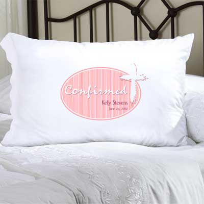 Personalized Confirmation Pillow Case with Cross (Pink)