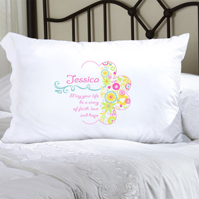 Personalized Pillow Case with Cheerful Blossoms