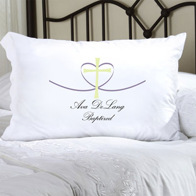 Personalized Pillow Case with Cross My Heart