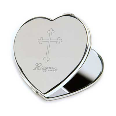 Personalized Heart Pocket Mirror with Engraved Cross