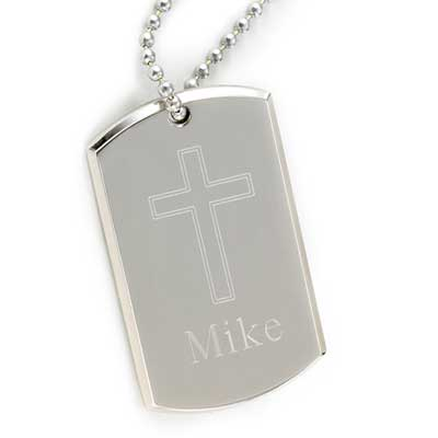 Large Personalized Dog Tag with Engraved Cross