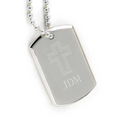 Small Personalized Dog Tag with Engraved Cross