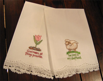 'Sheep and Tulip' Guest Towels – Set of Two