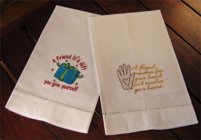 'Friendship is a Gift' Guest Towels - Set of Two