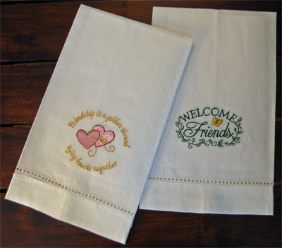 'Welcome Friends' Guest Towels – Set of Two