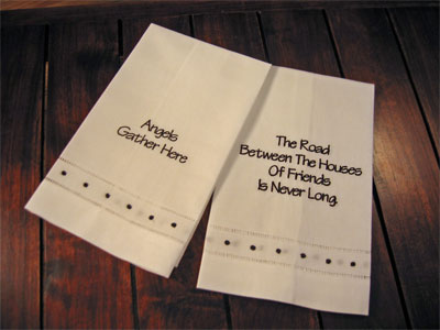 'Angels Gather' & 'The Road…' Guest Towels – Set of Two