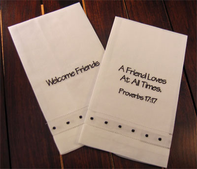 'Welcome Friends' & 'A Friend Loves...' Guest Towels - Set of Two