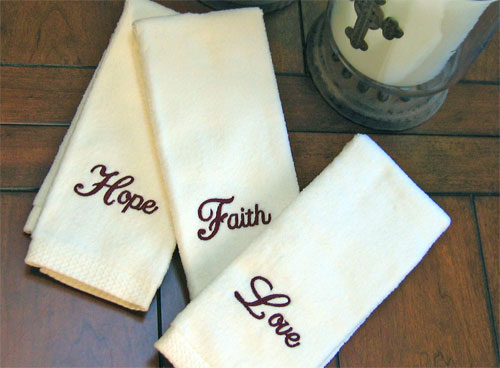 Faith, Hope & Love Finger Towels