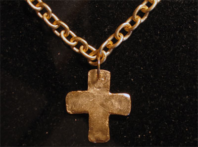 Handcast Gold Chain Cross Necklace