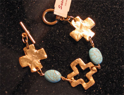 Gold Handcast Cross and Turquoise Bracelet