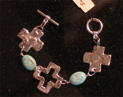 Handcast Silver Cross and Turquoise Bracelet