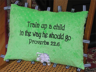 'Train up a Child' Lime Green Taggy Pillow
