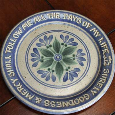 "Scripture Pottery 7″"" Salad Plate… """"Surely goodness & mercy…"""""