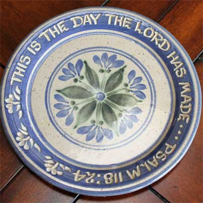 "Scripture Pottery 7″"" Salad Plate… """"This is the day…"""""