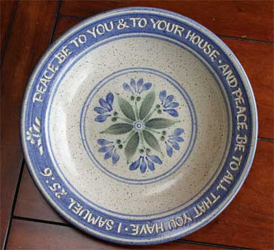 "Scripture Pottery Soup/Salad/Pasta Bowl… """"Peace be to you…"""""