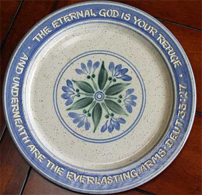 "Scripture Pottery 10″"" Dinner Plate… """"The Eternal God is your refuge…"""""