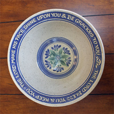 "Scripture Pottery Serving Bowl  """"The Lord Make His face…"""""