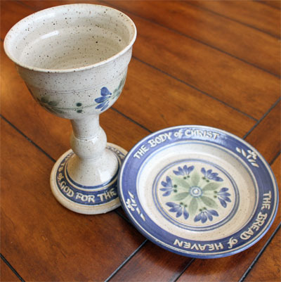 Scripture Pottery Communion Set