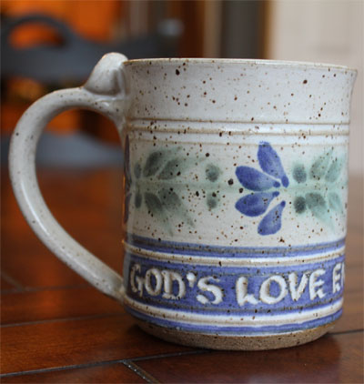 "Scripture Pottery Small Mug… """"God's Love endures…"""""