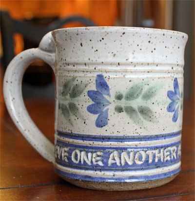 "Scripture Pottery Mug… """"Love one another…"""""