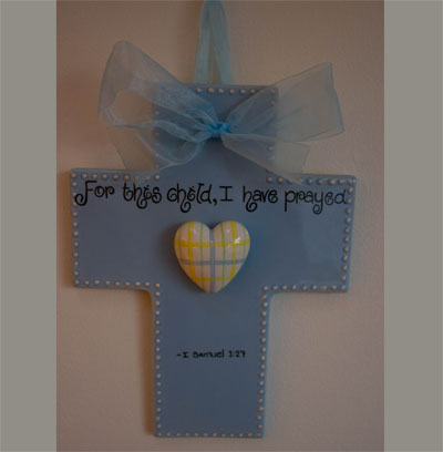 For this child I have prayed Blue Wall Cross for Child