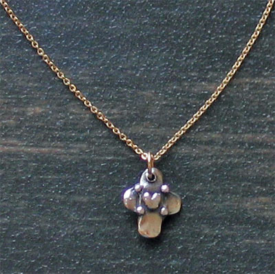 Sterling Silver Tiny Cross with Heart Necklace