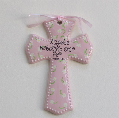 'Angels watching over me' Pink Wall Cross